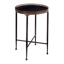 Round Black Metal Accent Table - *Traditional round black accent table