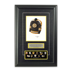 "Heritage Sports Art - Original art of the NHL 1971-72 Bobby Orr jersey - This beautifully framed piece features an original piece of watercolor artwork glass-framed in an attractive two inch wide black resin frame with a double mat. The outer dimensions of the framed piece are approximately 17"" wide x 24.5"" high, although the exact size will vary according to the size of the original piece of art. At the core of the framed piece is the actual piece of original artwork as painted by the artist on textured 100% rag, water-marked watercolor paper. In many cases the original artwork has handwritten notes in pencil from the artist. Simply put, this is beautiful, one-of-a-kind artwork. The outer mat is a rich textured black acid-free mat with a decorative inset white v-groove, while the inner mat is a complimentary colored acid-free mat reflecting one of the team's primary colors. The image of this framed piece shows the mat color that we use (Yellow). Beneath the artwork is a silver plate with black text describing the original artwork. The text for this piece will read: This original, one-of-a-kind watercolor painting of Bobby Orr's 1971-72 Boston Bruins jersey is the original artwork that was used in the creation of this Bobby Orr jersey evolution print and tens of thousands of Bobby Orr products that have been sold across North America. This original piece of art was painted by artist Tino Paolini for Maple Leaf Productions Ltd. Beneath the silver plate is a 3"" x 9"" reproduction of a well known, best-selling print that celebrates Bobby Orr's hockey history. The print beautifully illustrates a chronological evolution of some of Bobby Orr's jerseys and shows you how the original art was used in the creation of this print. If you look closely, you will see that the print features the actual artwork being offered for sale. The piece is framed with an extremely high quality framing glass. We have used this glass style for many years with excellent results. We package every piece very carefully in a double layer of bubble wrap and a rigid double-wall cardboard package to avoid breakage at any point during the shipping process, but if damage does occur, we will gladly repair, replace or refund. Please note that all of our products come with a 90 day 100% satisfaction guarantee. Each framed piece also comes with a two page letter signed by Scott Sillcox describing the history behind the art. If there was an extra-special story about your piece of art, that story will be included in the letter. When you receive your framed piece, you should find the letter lightly attached to the front of the framed piece. If you have any questions, at any time, about the actual artwork or about any of the artist's handwritten notes on the artwork, I would love to tell you about them. After placing your order, please click the ""Contact Seller"" button to message me and I will tell you everything I can about your original piece of art. The artists and I spent well over ten years of our lives creating these pieces of original artwork, and in many cases there are stories I can tell you about your actual piece of artwork that might add an extra element of interest in your one-of-a-kind purchase."