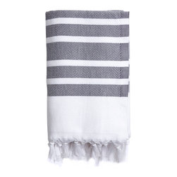 Turkish-T - Luxe Lake Herringbone Towel - This loosely loomed, herrigbone pattern towel is light in weight, yet extremely absorbant. The festive stripes add just the right amount of fashionable flare. Wrap yourself in luxury after the bath, pool or lake with this 100% Turkish cotton towel.