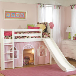 None - White Low-Loft Twin Playhouse Bed with Slide and Ladder - Give your child the bedroom of their dreams with this charming playhouse bed set. This adorable pink set comes complete with a playhouse curtain, slide and ladder, providing hours of enjoyment for any imaginative child.