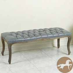 Christopher Knight Home - Christopher Knight Home Tufted Grey Leather Bench with Weathered Oak Frame - Buttery soft to the touch and accent with tufting and buttons, you will love every inch of the Tufted Grey Leather Bench, including its unique weathered oak frame.