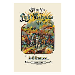 """Buyenlarge.com, Inc. - Charge of the Light Brigade: March- Fine Art Giclee Print 24"""" x 36"""" - Edward Taylor Paull (1858 - 1924) was a prolific publisher of sheet music marches. His songs gained acclaim more from the cover art of the sheet music than often from the lyrics and tune."""