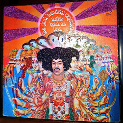 """Glittered Live Jimi Hendrix Experience Album - Glittered record album. Album is framed in a black 12x12"""" square frame with front and back cover and clips holding the record in place on the back. Album covers are original vintage covers."""