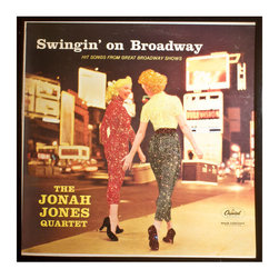 """Glittered Jonah Jones Broadway Album - Glittered record album. Album is framed in a black 12x12"""" square frame with front and back cover and clips holding the record in place on the back. Album covers are original vintage covers."""