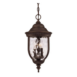 Savoy House - Castlemain Hanging Lantern - An incredibly versatile and economical group with clear watered glass, available in a variety of sizes, plus post and hanging. Also available in Energy Star with Tuscan glass. Walnut Patina finish and Clear Hammered Glass.