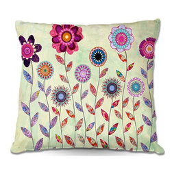 DiaNoche Designs - Pillow Woven Poplin from DiaNoche Designs by Sascalias Purple Fowers - Toss this decorative pillow on any bed, sofa or chair, and add personality to your chic and stylish decor. Lay your head against your new art and relax! Made of woven Poly-Poplin.  Includes a cushy supportive pillow insert, zipped inside. Dye Sublimation printing adheres the ink to the material for long life and durability. Double Sided Print, Machine Washable, Product may vary slightly from image.
