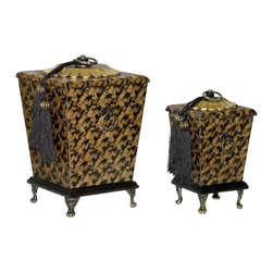 Sterling Industries - Sterling Industries Parisian Boxes X-5851-98 - Mottled patterning in brown and black creates depth and interest to the otherwise simple and clean-lined design of these Sterling Industries Parisian Boxes. The two boxes come in varied sizes and feature a gold medallion top complete with black tassels. Foot detailing to the base complete the look.