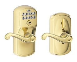 """Schlage Lock - Electronic Entry Lever Lt Brass - Keyless access. Allows homeowners to choose whether the door remains locked (with a code required for entry) or unlocked (no code required for entry) by rotating the inside thumb turn. Ideal for garage entry doors, home offices, storage rooms, etc. Patent  ed commercial grade clutching motor drive. Vandal resistant clutching lever and knob design. Code control; pre-set with random 6-digit programming code and two random 4-digit user codes. 19 user code capacity; 10,000 user code combinations. Grade 2 ANSI/B  HMA certified. Warning code sounds after four incorrect codes entered; keypad disabled for 30 seconds. Mechanical key override. Blue LEDs illuminate the keypad on demand. Emergency exit feature; allows for panic-free exit. Locks can be re-k  eyed to match existing locks. 9-volt alkaline battery included. Fits most standard door preps. Just a screwdriver needed for installation on pre-prepped doors. DOOR THICKNESS: 1-3/8"""" to 1-3/4"""". CYLINDER: 5-pin solid brass, keyed 5-pin, C keyway, keyed dif  ferent (KD). LATCH: 1"""" x 2-1/4"""" radius corner faceplate, 7/8"""" housing diameter, Triple-Option square corner, radius corner and circular drive-in faceplates. STRIKES: 1-5/8"""" x 2-1/4"""", square and radius corner, full lip, no box, latch strike. BACKSET: Unive  rsal backset, fits 2-3/8"""" to 2-3/4"""" backsets. KEYS: Nickel silver cut keys, 5-pin, C-section. Minimum 5-1/2"""" center-to-center distance between cross bore holes. All-metal chassis and escutcheons. Silicone rubber, wear-resistant buttons.  VISUAL PACK - PLYMOUTH HOUSING & FLAIR LEVERS    Finish=Bright BrassHanded=Reversible"""
