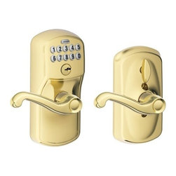"Schlage Lock - Electronic Entry Lever Lt Brass - Keyless access. Allows homeowners to choose whether the door remains locked (with a code required for entry) or unlocked (no code required for entry) by rotating the inside thumb turn. Ideal for garage entry doors, home offices, storage rooms, etc. Patent  ed commercial grade clutching motor drive. Vandal resistant clutching lever and knob design. Code control; pre-set with random 6-digit programming code and two random 4-digit user codes. 19 user code capacity; 10,000 user code combinations. Grade 2 ANSI/B  HMA certified. Warning code sounds after four incorrect codes entered; keypad disabled for 30 seconds. Mechanical key override. Blue LEDs illuminate the keypad on demand. Emergency exit feature; allows for panic-free exit. Locks can be re-k  eyed to match existing locks. 9-volt alkaline battery included. Fits most standard door preps. Just a screwdriver needed for installation on pre-prepped doors. DOOR THICKNESS: 1-3/8"" to 1-3/4"". CYLINDER: 5-pin solid brass, keyed 5-pin, C keyway, keyed dif  ferent (KD). LATCH: 1"" x 2-1/4"" radius corner faceplate, 7/8"" housing diameter, Triple-Option square corner, radius corner and circular drive-in faceplates. STRIKES: 1-5/8"" x 2-1/4"", square and radius corner, full lip, no box, latch strike. BACKSET: Unive  rsal backset, fits 2-3/8"" to 2-3/4"" backsets. KEYS: Nickel silver cut keys, 5-pin, C-section. Minimum 5-1/2"" center-to-center distance between cross bore holes. All-metal chassis and escutcheons. Silicone rubber, wear-resistant buttons.  VISUAL PACK - PLYMOUTH HOUSING & FLAIR LEVERS    Finish=Bright BrassHanded=Reversible"