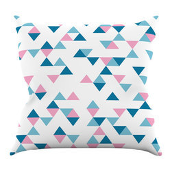 "Kess InHouse - Project M ""Triangles Pink"" Blush Blue Throw Pillow (18"" x 18"") - Rest among the art you love. Transform your hang out room into a hip gallery, that's also comfortable. With this pillow you can create an environment that reflects your unique style. It's amazing what a throw pillow can do to complete a room. (Kess InHouse is not responsible for pillow fighting that may occur as the result of creative stimulation)."