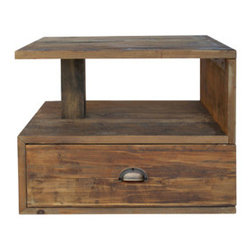 Urban Home Reclaimed Slumber Side Table - Made of Reclaimed Distressed Elm. Features an open ended design with a large drawer for storage.