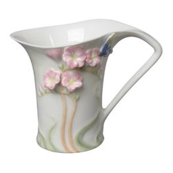 US - 4.75 Inch Glazed Porcelain Pink Freesia Blue Butterfly Creamer - This gorgeous 4.75 Inch Glazed Porcelain Pink Freesia Blue Butterfly Creamer has the finest details and highest quality you will find anywhere! 4.75 Inch Glazed Porcelain Pink Freesia Blue Butterfly Creamer is truly remarkable.