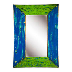 Reclaimed Boat Wood Mirror - This large rectangular mirror was created from reclaimed boat wood. Each item is unique - the bi-colors are all in the blue/green range.