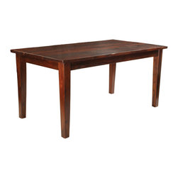 "Four Hands - Sheesham Solid Wood Rectangular Dining Table, 65 Inch - If you don""t have the space or desire for a square or round dining table because you prefer a classic rectangular style, then this is your table! It""s available in three sizes to fit several different dining spaces. Table is made from solid sheesham wood, also referred to as Indian rosewood, that is a dense, strong wood providing good stability. The thick plank tabletop is cross-planed by hand for a one-of-a-kind surface. This rustic beauty will serve your family well for many years to come."