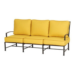 Caluco San Michele Sofa - Enjoy reading your favorite book outside while sipping a cool drink and relaxing on the Caluco San Michele Sofa. Crafted from durable, rust-resistant tubular aluminum, this loveseat has a powder coated finish in a dark gray that beautifully sets off the natural colors in your backyard. A clear coat over the finish provides maximum UV protection as well as making the loveseat fade- and chip-resistant. Fully welded for extra strength and durability, the frame also features weep holes which allows the moisture to exit so your loveseat lasts even longer. The adjustable nylon gliders and stainless steel hardware add to the superb construction. Designed with a contemporary European flair, sleek lines, and refined curves, this gorgeous sofa is designed to stand out. Luxurious and comfortable cushions are included with this sofa and come in your choice of color so you can add your own flair to this sofa. Easy to maintain with mild soap and water, you'll having this sofa as a part of your outdoor decor.Additional FeaturesDesigned with a contemporary European flairFeatures sleek lines and refined curvesClear coat provides maximum UV protectionFade- and chip-resistantFully welded for extra strength and longevityEasy to maintain with mild soap and waterAdjustable nylon glidesStainless steel hardwareWeep holes allows moisture to exit the frameAbout CalucoCaluco Patio Furniture is a direct importer of high-end outdoor patio furniture. They specialize in providing Grade A aluminum, teak and wicker furniture, expertly manufactured, and sold to you at affordable prices. Their outdoor patio furniture is shipped directly to their 40,000 square foot facility in San Fernando, California; and from their facility, they ship it directly to you. Their clients choose them for their expertise and their ability to combine high end quality with customer care, without the high-end pricing.
