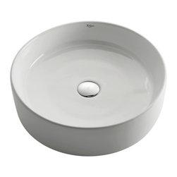 Kraus - Kraus White Round Ceramic Sink - *Add an elegant touch to your bathroom with a Kraus ceramic washbasin