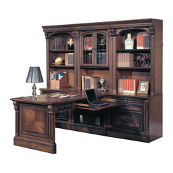 Parker House - Parker House Huntington 7-Piece Dual Desk Office Wall in Vintage Pecan - Parker House Furniture is a family owned company offering high quality home office and home entertainment furniture since 1946. They are committed to offering 100% customer satisfaction and make customer service a number one priority. Parker House Furniture manufactures luxurious collections in a variety of rich finishes that are accented with classy details. Wide range of entertainment centers, home office furniture, library walls, and a great selection of media centers are just some of the items they provide to make you home beautiful and unique.