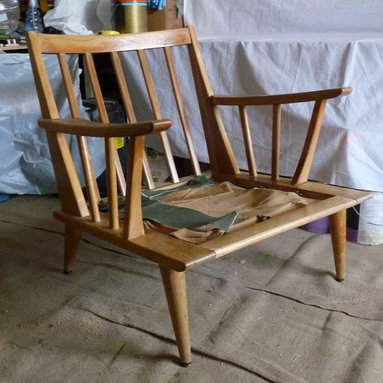 Before & After - Spindle-back lounge chair -- freshly rescued, to be refinished