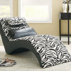 Zebra Chaise - Bring a modern boldness and a wild side to your living room with this zebra pattern sofa bed collection. Sit down on the pure comfort of chenille fabric while being supported by chrome finished legs. Chaise includes one black accent pillow and an attached headrest pillow.