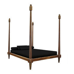 Fiorenza Four-Post Bed - This bed features four towering posts without a canopy or headboard. It can be used as a traditional bed, or as a lounge in a common area. Shown in Guayubira.
