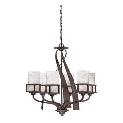 Quoizel - Quoizel KY5006IN Kyle Chandelier - A rustic contemporary look that gives a dramatic flair to your home, this design serves as a piece of art in itself.  It features gorgeous white onyx shades that emit a romantic glow, and sweeping wrought iron metal bands that add visual interest.  Onyx is a mottled quartz that takes a high polish.  As the favorite medium for Greek and Roman sculptors and architects, onyx has become a cultural symbol of tradition and refined taste.