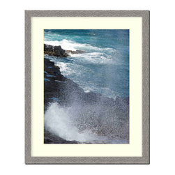 """Frames By Mail - Wall Picture Frame Hammered Grey Pearlized finish wtih a white acid-free matte, - This 20X24 hammered grey pearlized finish frame is 1"""" wide.  The white matte can be removed to accommodate a larger picture.  The frame includes regular plexi-glass (.098 thickness) foam core backing and can hang either horizontal or vertical."""