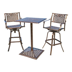 Great Deal Furniture - Athens Outdoor Bar Bistro Set - Perfect for breakfast on the patio or creating an intimate seating area in your garden, the Athens Bar Bistro Set makes a wonderful choice. Both the table and chairs compliment each other and lend a dash of elegance to your patio with its elaborate patterned design. Crafted from cast aluminum, this bar height bistro set will last for many years to come. A unique antique copper finish sets this set apart from the rest. It assembles easily and includes rust-resistant stainless steel hardware. A romantic European look that will enhance your outdoor living space.