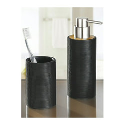 Bamboo Bath and Spa Accessory Set - Matte Black - 10oz - Luxurious contemporary bamboo countertop accessories - 2 piece set (tumbler and liquid soap / lotion dispenser) .  Matte black ribbed design for non slip use in your bathroom or kitchen.  Durable easy to use pump with chrome finish.  Eco-friendly bamboo is not only a sustainable choice but functional and beautiful.  Designed and produced in Germany. Tumbler (W) 2.6in x (H) 4.3in ; Dispenser (W) 2.6in x (H) 7.5in - Holds 10oz of soap or lotion.