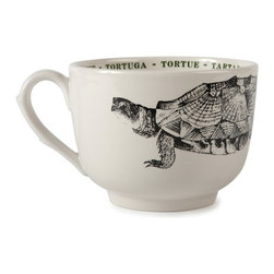 "Sir|Madam - Tortoise Fauna Grand Cups (Set of 4) - The detailed illustrations adorning these generous vessels are taken from vintage metal etching plates depicting beloved creatures from the animal world. Each cup's interior rim is embellished with a colorful repetition of the animal's name in four languages: English, Spanish, French, and Italian. Destined to become favorites in a crowded cupboard! Fauna Cups are microwave and dishwasher safe and come in sets of 4. Each cup measures 4.75""."
