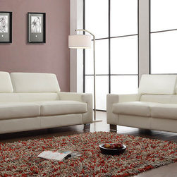Homelegance - Homelegance Vernon 2 Piece Living Room Set in White Leather - With defined angles that exemplify contemporary design  the Vernon Collection will blend effortlessly into your modern home. Metal legs support the bonded leather seating group while also enhancing the look of the collection. The headrests atop each piece add function to this already unique group. The collection is offered in black or white bonded leather.