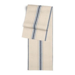Blue Feedsack-Style Cotton Stripe Custom Table Runner - Get ready to dine in style with your new Simple Table Runner. With clean rolled edges and hundreds of fabrics to choose from, it's the perfect centerpiece to the well set table. We love it in this classic rustic blue and tan feedsack style stripe made in super soft woven cotton.  Bye bye scratchy burlap!