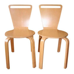 """Pre-owned Thonet Series C Plywood Chairs - Set of 4 - A set of four Thonet Series C molded plywood chairs. set of 4. ��The chairs were designed by Dorsey Cox, ca. 1990. ��They feature a molded maple plywood seat and back. The chairs stack 4 high. These are adult sized chairs, newly professionally refinished to their original color and finish. The Thonet mark and manufacturer labels are still in tact on each chair. ��    They retail from Thonet for $786 each.    14"""" seat back, 15"""" x 16"""" seat bottom, 17""""leg height (seat to floor). ��"""
