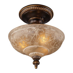 ELK Lighting - ELK Lighting 08100 Restoration Three-Light Semi-Flush Ceiling Fixture - A Grouping Of Ceiling Lighting Developed With A Discriminating Concern For Preserving Historic Lighting And Architectural Designs.This Offering Of Expert Restoration And Replication Fixtures Is Offered In A Wide Variety Of Styles And Sizes.Specifications: