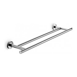 "WS Bath Collections - Spriz 25.6"" Double Towel Rain In Polished Chrome - Spritz 52417 by WS Bath Collections Double Towel Bar 25.6"" in Polished Chrome, Made of Solid Brass Base, Made in Italy"