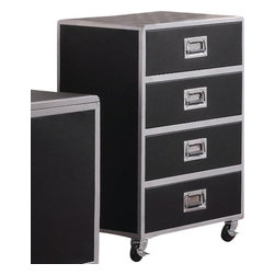 """Coaster - Chest (Metal/Black) By Coaster - Contemporary style. Four storage drawers. Metal handle pull hardware. Made from metal. 24 """" W x 18.5 """" D x 37.5 """" H.  With a myriad of options that include functional storage, workspace and efficient design, the LeClair collection will outfit the youth bedroom in your home with a perfect balance of smart function and sleek design that will grow with them for years to come."""