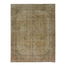 "ALRUG - Handmade Beige/Brown Persian Antique Vintage Rug 9' 3"" x 12' 2"" (ft) - This Persian Vintage design rug is hand-knotted with Wool on Cotton."