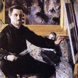 "Gustave Caillebotte Self Portrait with Easel - 18"" x 24"" Premium Archival Print - 18"" x 24"" Gustave Caillebotte Self Portrait with Easel premium archival print reproduced to meet museum quality standards. Our museum quality archival prints are produced using high-precision print technology for a more accurate reproduction printed on high quality, heavyweight matte presentation paper with fade-resistant, archival inks. Our progressive business model allows us to offer works of art to you at the best wholesale pricing, significantly less than art gallery prices, affordable to all. This line of artwork is produced with extra white border space (if you choose to have it framed, for your framer to work with to frame properly or utilize a larger mat and/or frame).  We present a comprehensive collection of exceptional art reproductions byGustave Caillebotte."