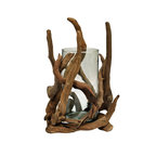 Eangee - Driftwood Square Bowl - Natural - This piece features real, individual pieces of driftwood formed together through hammer and nail to create a decorative bowl. The glass is included. The driftwood features a natural finish. Real driftwood, hand made and eco friendly. Color: Natural. 4 in. L x 10 in. W x 8 in. H (4 lbs.)