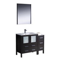 """Fresca - Fresca Torino 42"""" Modern Bathroom Vanity w/ One Side Cabinet & Integrated Sink - - Fresca is pleased to usher in a new age of customization with the introduction of its Torino line. The frosted glass panels of the doors balance out the sleek and modern lines of Torino, making it fit perfectly in either Town or Country dcor."""