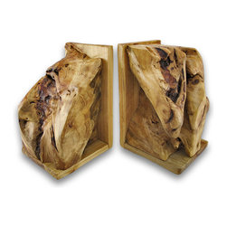 Zeckos - Pair of Mounted Burl Wood Bookends - These naturally beautiful bookends are hand crafted root carvings from Chinese Fir trees, dug up by farmers and passed along to skilled artisans to transform into unique works of art. Like fingerprints, no two pieces are identical in shape, texture, or grain. Each bookend measures approximately 9 3/4 inches high, 6 1/2 inches long, and 5 3/4 inches wide. These bookends add a lovely accent to shelves, bookcases, and desks and they are sure to be admired.