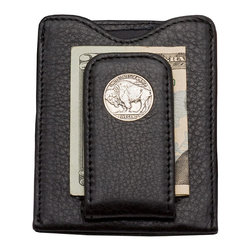 Frontgate - Buffalo Gray Money Clip Wallet - Features an authentic Buffalo nickel, minted from just 1913 to 1938. Handcrafted of handsome top-grain leather. Sewn-in guard protects magnetic credit-card strips from erasure. Comes with a certificate of authenticity and an elegant box for gift-giving. Our Buffalo Nickel Money Clip Wallet offers a distinguished tribute to American history, smartly designed for today's busy gentleman. A real Buffalo nickel is securely embedded in a magnetic money clip, which is attached to a wallet with an inner pocket and two back pockets for credit cards or ID.  .  .  .  .