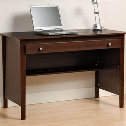 Prepac - Entryway & Home Contemporary Desk w Shelf (Hu - Add Hutch: Hutch in EspressoOne wide roll-out drawer. Drawers run smoothly on metal glides with built-in safety stop. Coordinate with matching wall mounted desk hutch. Warranty: Five years. Made from CARB-compliant, laminated composite woods . Made in North America. Assembly required. Internal drawer: 39.5 in. W x 15 in. D x 1.25 in. H. Leg clearance: 40.5 in. W x 19.5 in. D x 24 in. H. Overall: 47.25 in. W x 23.5 in. D x 30.25 in. HThe Contemporary Computer Desk is perfect for your small office or dorm room. Drawer ideal for storing pens, papers, other small items and even your laptop. Its large work surface can accommodate a computer, lamp and any books you need handy. The back of the desk is finished, giving it a tidy look no matter where its placed in your room. This desk offers you value and practicality without compromising your budget.