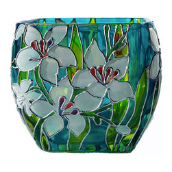 Hand-Painted Glass Candleholder, White Lilies by Sylwia Glass Art - According to the artist, Monet's iconic paintings of water lilies inspired this beautiful hand-painted glass candleholder. It looks fabulous by day and absolutely stunning with a lit candle inside at night.