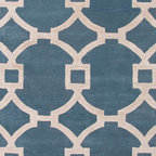 Jaipur Rugs - Hand-Tufted Geometric Pattern Wool/ Art Silk Blue/Ivory Area Rug ( 5x8 ) - Over scaled sharp geometrics characterize this striking contemporary range of  hand tufted rugs. The high/low construction in wool and art silk creates texture and surface interest and gives a look of matt and shine.