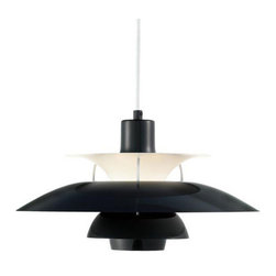 Louis Poulsen - PH50 Pendant, Black, by Louis Poulsen - This sculptural-looking pendant uses its geometric design to the utmost — not just for chic modern style, but for the art and science of light reflection. Architect Poul Henningsen's design uses layered, curved shades to reflect light downward and laterally, creating a beautifully smooth, even glare-free glow. Renowned for 50 years, the original design is now available in a range of fresh colors.