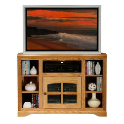 Eagle Furniture Manufacturers - Oak Ridge Corner TV Bookcase Stand (Dark Oak) - Finish: Dark Oak. One glass panel door. One adjustable wood shelf. Four fixed wood shelves. Decorative molding with fluted detailing. Warranty: Eagle's products are guaranteed against material defects for one year from date of delivery to the dealer. Made in USA. No assembly required. 45.5 in. W x 17 in. D x 32 in. H (81.3 lbs.)The Oak Ridge collection combines American oak hardwood with updated contemporary styling. Heavy crown molding, sleek lines, fluted side molding, black brushed metal hardware, solid oak frames and solid oak recessed doors give this transitional collection a style all its own