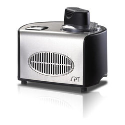 SPT Appliance - Ice Cream Maker (1.5-qt) - Stainless - 1.5 quarts capacity . Self-Cooling system: no pre-freezing needed. Automatic timer with auto shut-off (10, 20, 30, 40, 50 and 60 minutes). Transparent lid and removable bowl. Easy assembly and disassembly. Cooling temperature: -0.4 degreesF to . 31 degreesF. Stainless steel body. Digital controls with soft-touch buttons. ETL certified. Included in Box: Spoon, measuring cup. 14.57 in. L X 11.22 in. W X 12.2 in. H (25 lbs.)Make a wide range of delectable frozen desserts in 20 to 60 minutes with this self-cooling ice cream maker. No pre-freezing needed, built-in compressor freezer allows continuous usage. Make premium ice cream, sorbet, sherbet, frozen yogurt and many more, all in less than an hour! Features digital timer with auto shut-off and stand-by cooling mode. Stainless Steel body and contemporary dual-color design.