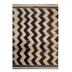 "ALRUG - Handmade Beige/Bone Oriental Kilim  7' x 9' 10"" (ft) - This Afghan Kilim design rug is hand-knotted with Wool on Wool."