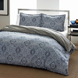 City Scene - City Scene Milan Blue Cotton 3-piece Duvet Cover Set - The City Scene Milan Blue Cotton Duvet Cover Set features a beautiful blue medallion front with a more subtle pattern on grey on the reverse. At least one matching sham is included in this machine washable set.