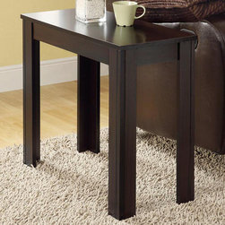 Monarch - Cappuccino Accent Side Table - Add a modern appeal to your space with this cappuccino side table. Its solid and tapered legs are designed with subtle details that accentuate this piece. Place a lamp, picture frame, plant or any decorative accent on this functional side table. In a rich solid-wood, cappuccino finish, it will be an eye catcher in any room.